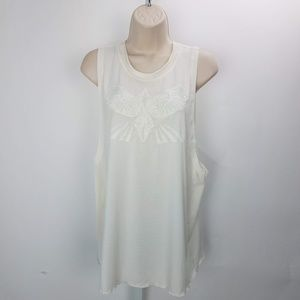 Free People Sleeveless Top Stitched Sz M Cream